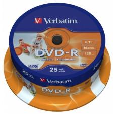 Диск DVD+R  VERBATIM 4.7Gb, 16x, (25шт/CakeBox) printable