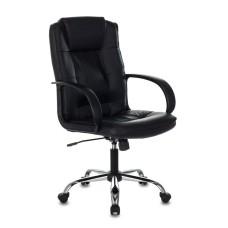 Кресло руководителя БЮРОКРАТ T-800N, на колесиках, кожа, черный